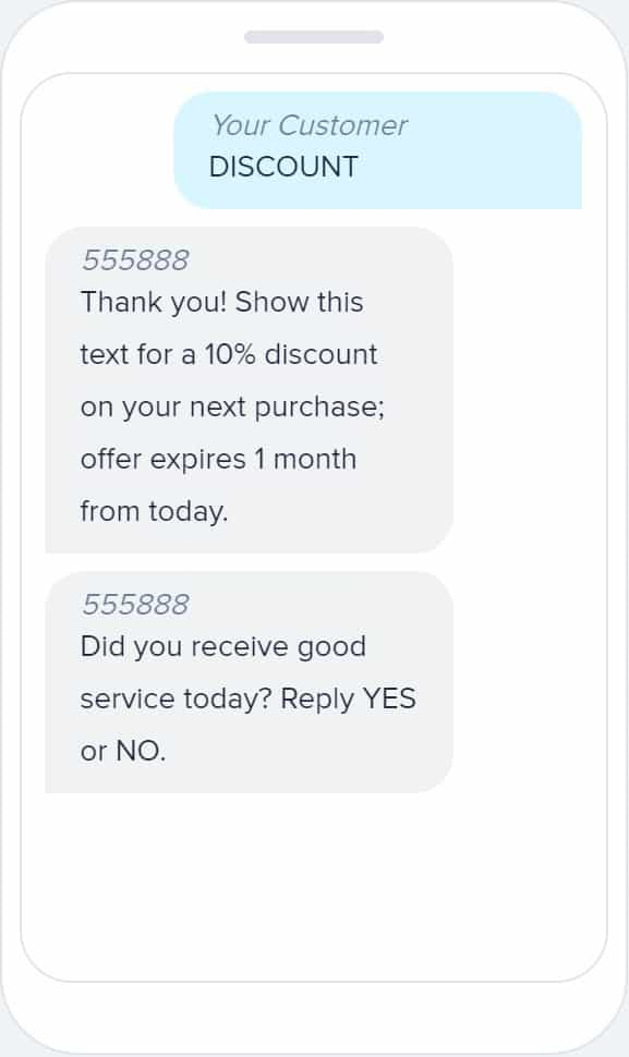 Customer texts for their offer.